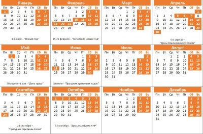 Календарь рабочих и нерабочих дней в Китае на 2018 год